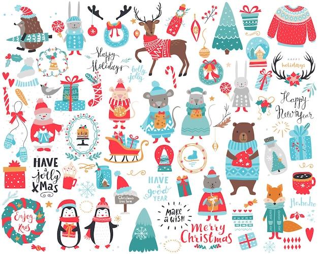 Duży świąteczny zestaw świąteczno-noworoczny z mnóstwem przedmiotów, postaci i napisów. kolekcja zimowa wektor.