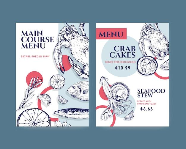 Duży szablon menu z koncepcją owoców morza dla ilustracji restauracji i sklepu spożywczego