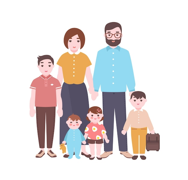 Duży szczęśliwy portret rodziny. uśmiechnięta matka, ojciec i dzieci stoją razem. urocze śmieszne postacie z kreskówek na białym tle. ilustracja wektorowa kolorowy w stylu płaski.