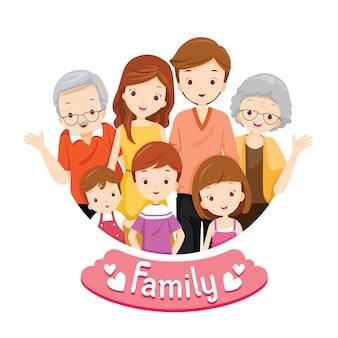 Duży szczęśliwy portret rodziny