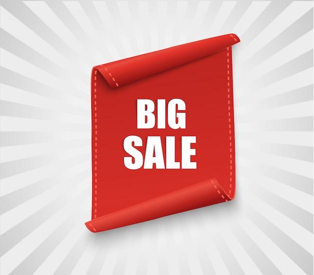 Duży sztandar sprzedaży. czerwona wstążka zakrzywione na białym tle. ilustracja