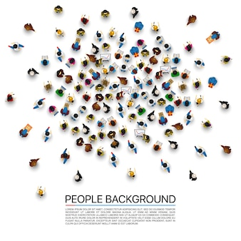Duży tłum ludzi na białym tle. ilustracja wektorowa.
