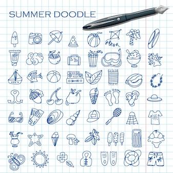 Duży wektor doodle zestaw letnich akcesoriów do rysowania ręcznego na wakacje na plaży nad zestawem ikon morza