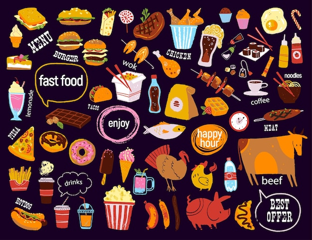 Duży wektor fast food tablica rysunek ręcznie rysowane styl szkicu dobry dla menu specjalnej oferty projektowej .