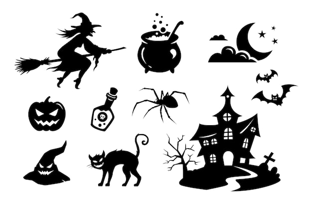 Duży wektor zestaw czarnych sylwetek i ikon potworów, stworzeń i elementów na halloween
