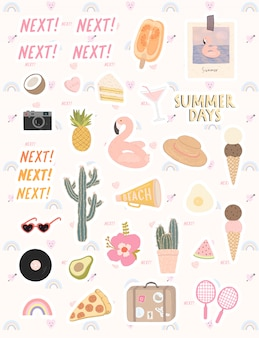 Duży wektor zestaw stylowych elementów na temat czasu letniego. śliczna wektorowa ręka rysujący elementy dla wakacje letni i przyjęcia.