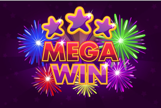 Duży wygrany banner mega do gier loteryjnych lub kasynowych. strzelanie kolorowych gwiazd