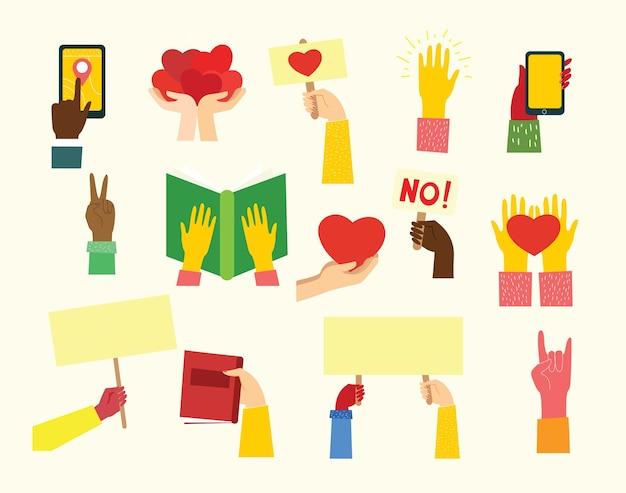 Duży zbiór ilustracji różnych rąk.