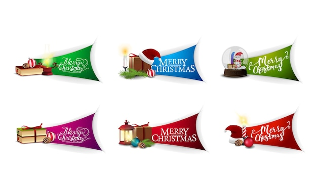 Duży zbiór naklejek z życzeniami bożonarodzeniowymi z pięknymi napisami i ikonami bożonarodzeniowymi. pozdrowienie naklejki świąteczne na białym tle