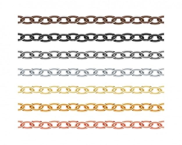 Duży zbiór różnych metalowy łańcuch bez szwu tekstury.