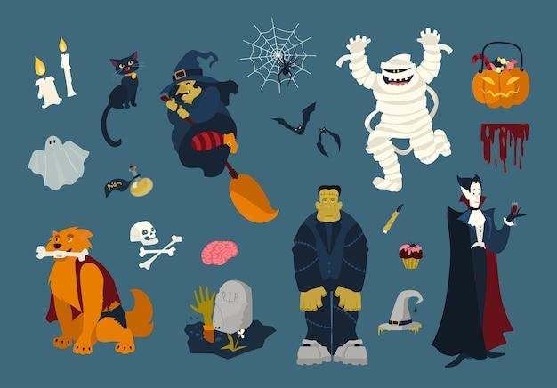 Duży zbiór zabawnych i strasznych postaci z kreskówek halloween - zombie, mumia, duch, wiedźma latająca na miotle, czarny kot, martwy, wampir, pająk w sieci, nietoperze. ilustracja wektorowa uroczysty kolorowy płaski.
