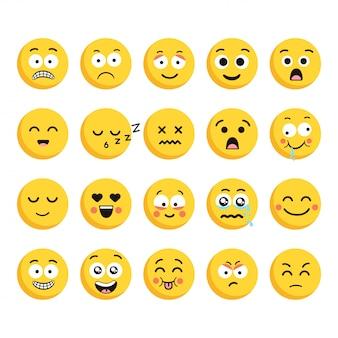 Duży zestaw 20 kreskówkowych emotikonów wysokiej jakości, w stylu płaskiej konstrukcji. śmieszny inny styl projektowania