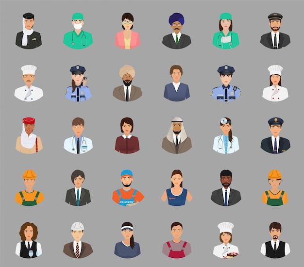 Duży zestaw awatarów ludzi o różnym zawodzie. pracownik i pracownicy napotykają postacie.