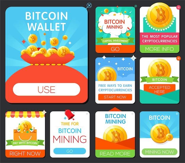 Duży zestaw banerów bitcoin