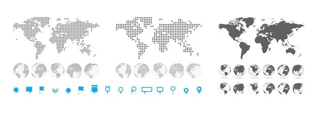 Duży zestaw bardzo szczegółowych map i globusów. kolekcja szpilek. różne efekty. mapa świata i elementy infograpchic. mapa świata krajów politycznych. ilustracja wektorowa.