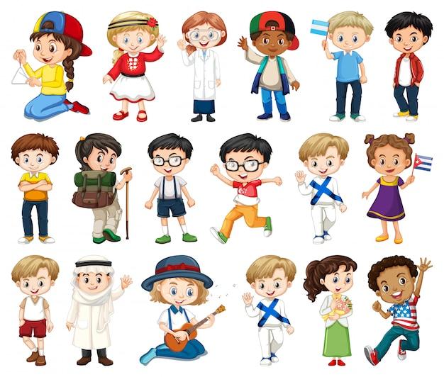 Duży zestaw chłopców i dziewcząt wykonujących różne czynności