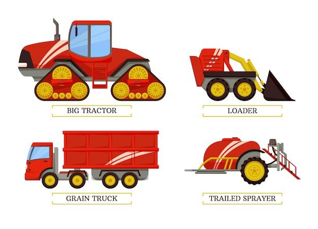 Duży zestaw ciągnika i ładowarki