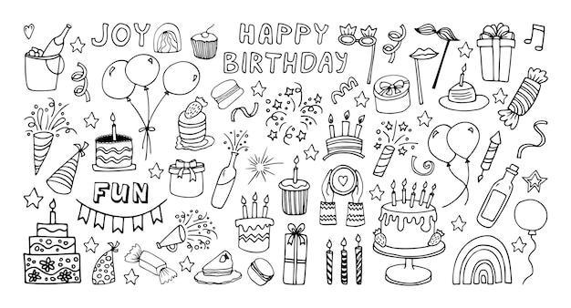 Duży zestaw clipartów na uroczystości party time doodle clipart z fajerwerkami party hat tort urodzinowy