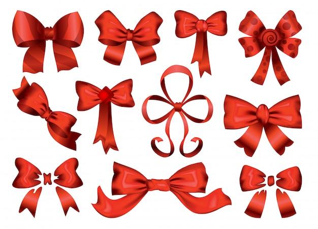 Duży zestaw czerwonych kokardek prezentowych ze wstążkami. ikony z dekoracyjnym i świątecznym designem. realistyczne łuki ilustracja na białym tle