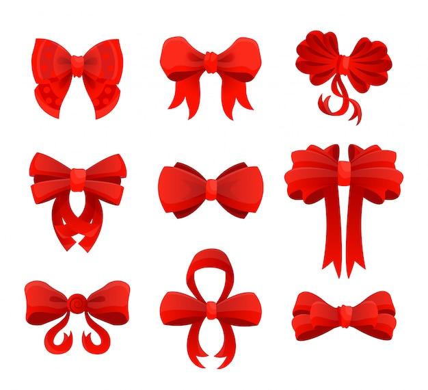 Duży zestaw czerwonych kokardek prezentowych ze wstążkami. ilustracji wektorowych