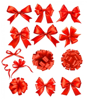 Duży zestaw czerwonych kokardek prezentowych ze wstążkami