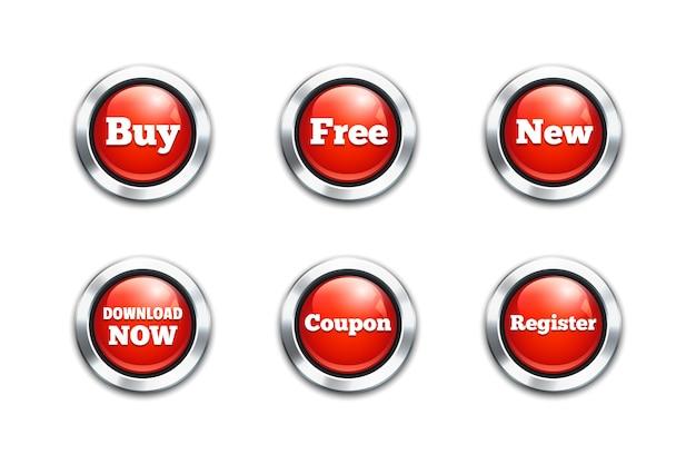 Duży zestaw czerwonych przycisków wektorowych: kup, pobierz i bezpłatnie