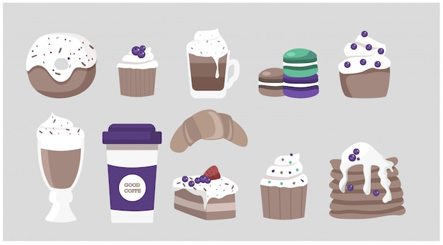 Duży zestaw deserów i wypieków do kawiarni lub kawiarni - pączek, ciasto, kawa w papierowym kubku, naleśniki z jagodami, makaroniki.
