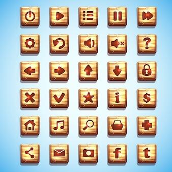 Duży zestaw drewnianych kwadratowych przycisków interfejsu użytkownika gier komputerowych i projektowania stron internetowych