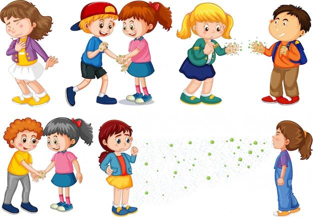Duży zestaw dzieci rozprzestrzeniających wirusa od dotykania i mówienia