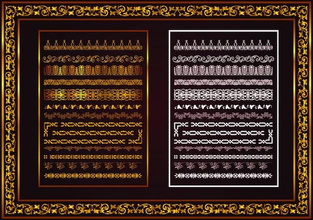 Duży zestaw dzielników tekstu, ramek i obramowań ma kolor złoty i biały
