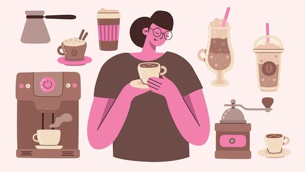Duży zestaw dziewczyna z kawą