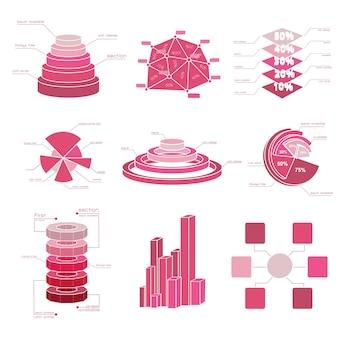 Duży zestaw elementów diagramu z kilkoma izolowanymi odcieniami czerwieni i różnymi typami wykresów