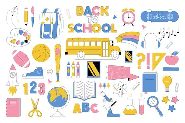 """Duży zestaw elementów edukacyjnych """"powrót do szkoły""""."""