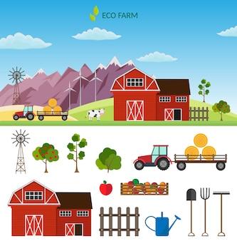 Duży zestaw elementów gospodarstwa wektorowego i zwierząt.