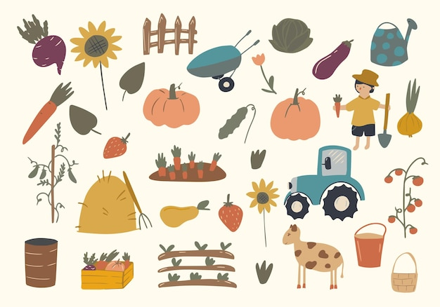 Duży zestaw elementów i postaci z kreskówkowej farmy. człowiek, narzędzia, zwierzęta gospodarskie, traktor, warzywa wyróżnione na białym tle, owoce.