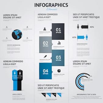 Duży zestaw elementów infographic. płaski styl.