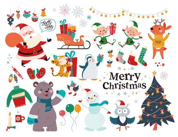 Duży zestaw elementów wystroju bożego narodzenia i znaków na białym tle. święty mikołaj, elf, niedźwiedź, prezenty, sanie, jodła itp. ilustracja kreskówka płaski wektor. na kartkę świąteczną, baner, nadruk, wzór, opakowanie.