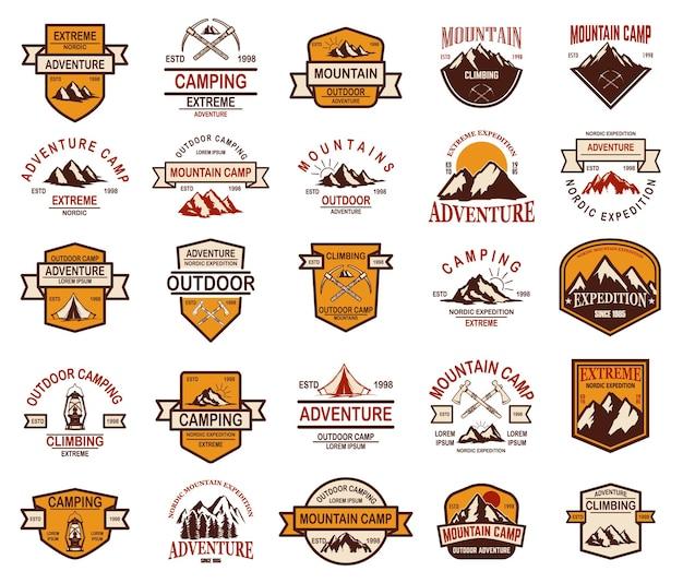 Duży zestaw emblematów turystyki górskiej. element projektu logo, etykieta, znak, baner, plakat.