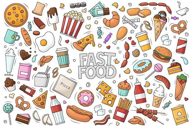 Duży zestaw fast foodów. ilustracja wektorowa w stylu bazgroły.
