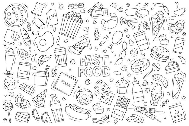 Duży zestaw fast foodów. liniowa ilustracja wektorowa w stylu bazgroły.