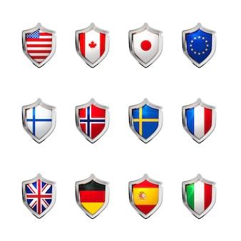 Duży zestaw flag suwerennych państw rzutowanych jako błyszcząca tarcza na białym tle