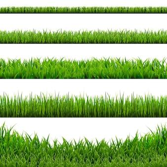 Duży zestaw granic trawy, ilustracji. .