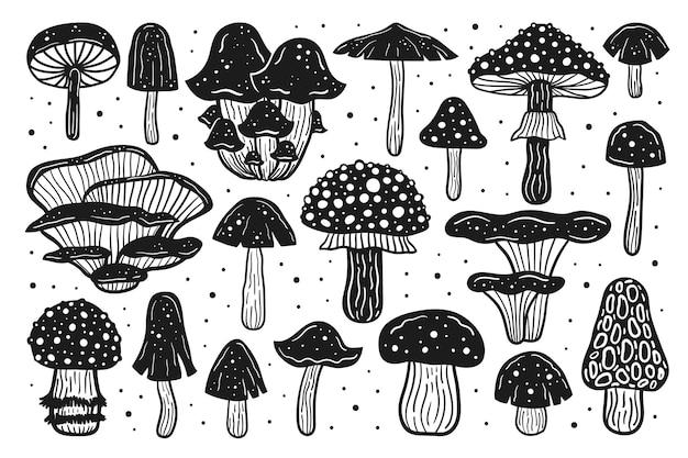 Duży zestaw grzybów leśnych. ilustracja wektorowa atramentu. druk linorytowy. czarny, monochromatyczny wzór.