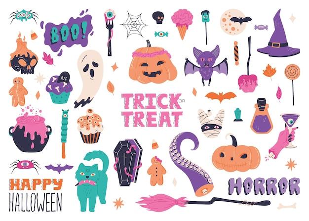 """Duży zestaw halloween, ręcznie rysowane elementy straszne. upiorna kolekcja z duchami, mumią, kociołkiem i kaligrafią """"cukierek albo psikus"""". symbole wakacje grozy. ilustracja wektorowa na białym tle"""