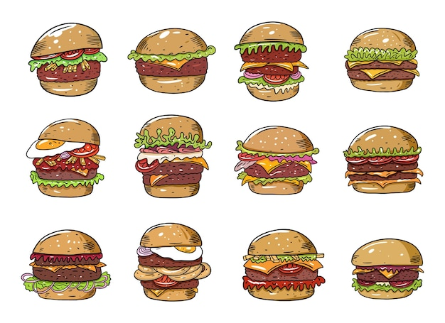 Duży zestaw hamburgerów. mieszkanie kolorowe. na białym tle naszkicuj projekt tekstu na kubek, blog, kartę, plakat, baner i t-shirt.