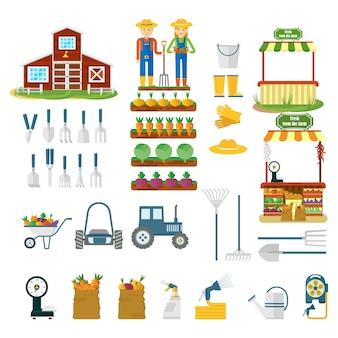 Duży zestaw ikon gospodarstwa. ilustracja kreskówka płaski wektor. obiekty na białym tle.
