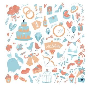 Duży zestaw ikon na dzień ślubu, walentynki lub wydarzenia miłosne i romantyczne. ilustracja wektorowa płaskie