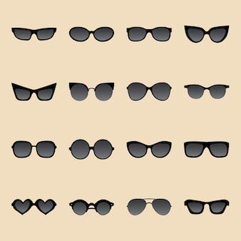 Duży zestaw ikon okularów przeciwsłonecznych o różnych kształtach w stylu płaski.