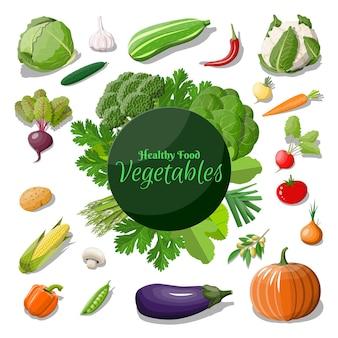 Duży zestaw ikon warzyw. cebula, bakłażan, kapusta, papryka, dynia, ogórek, pomidor, marchewka i inne warzywa.