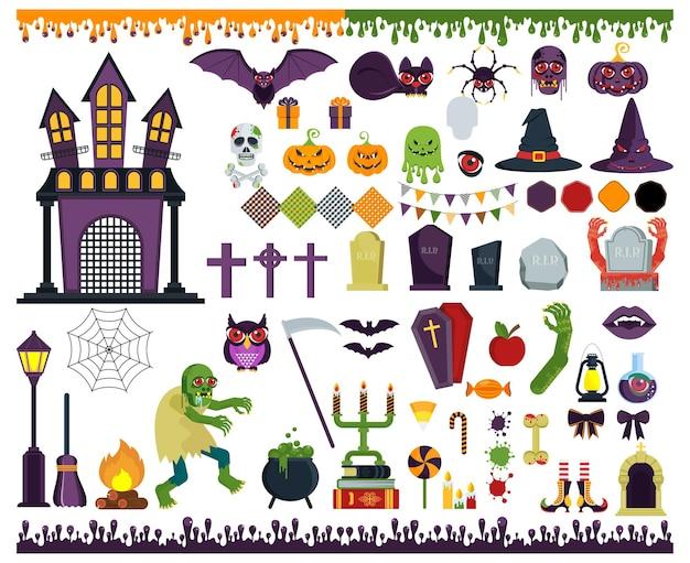 Duży zestaw ikon wektorowych płaski do dekoracji okolicznościowych i promocyjnych produktów na halloween. naklejka, znaczek i logo w postaci potwora, dyni, ducha lub grobu na cmentarzu. postacie i przedmioty.